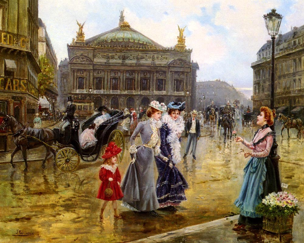 La Opera Paris by Joaquin Y Allustante Pallarese | Landscape Art - Oil Paintings Gallery
