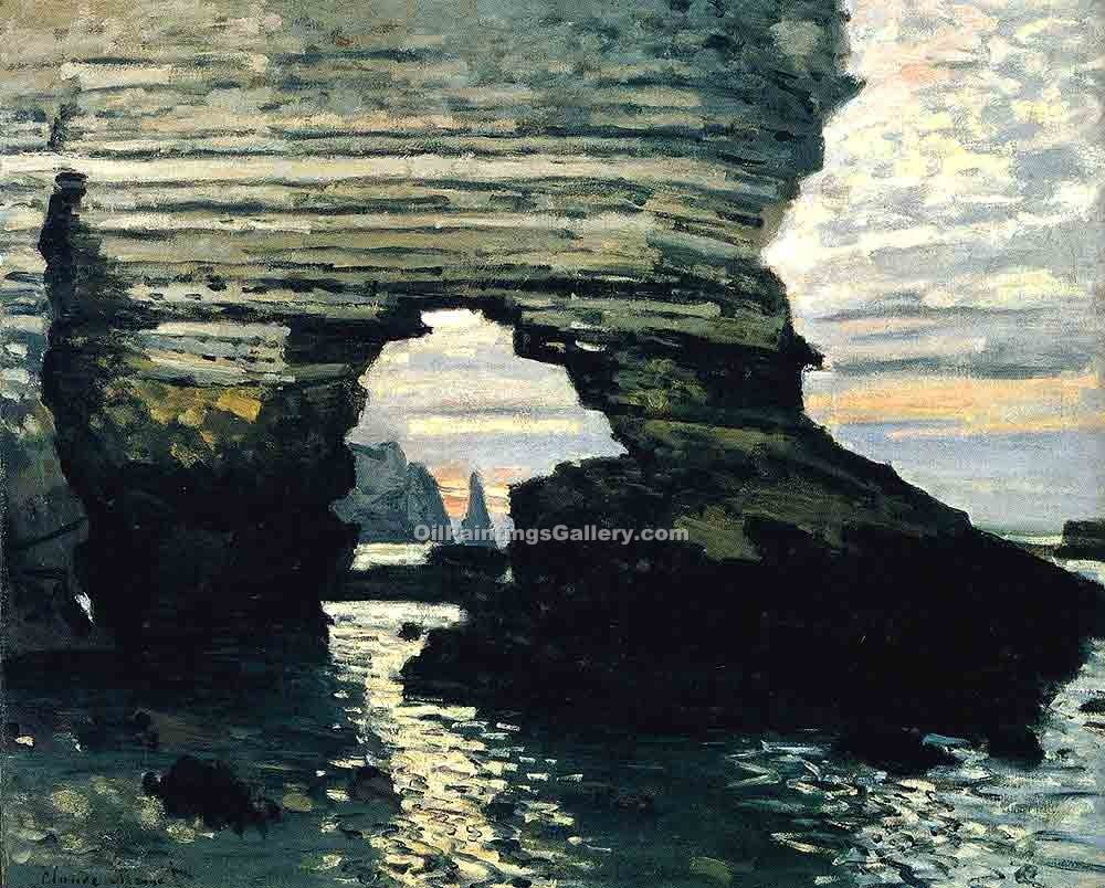 """La Porte D Amount Etretat"" by  Claude Monet"