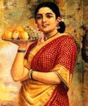 Lady Carrying Fruits by  Raja Ravi Varma (Painting ID: GE-1223-KA)