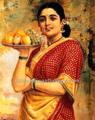 """Lady Carrying Fruits"" by  Raja Ravi Varma"