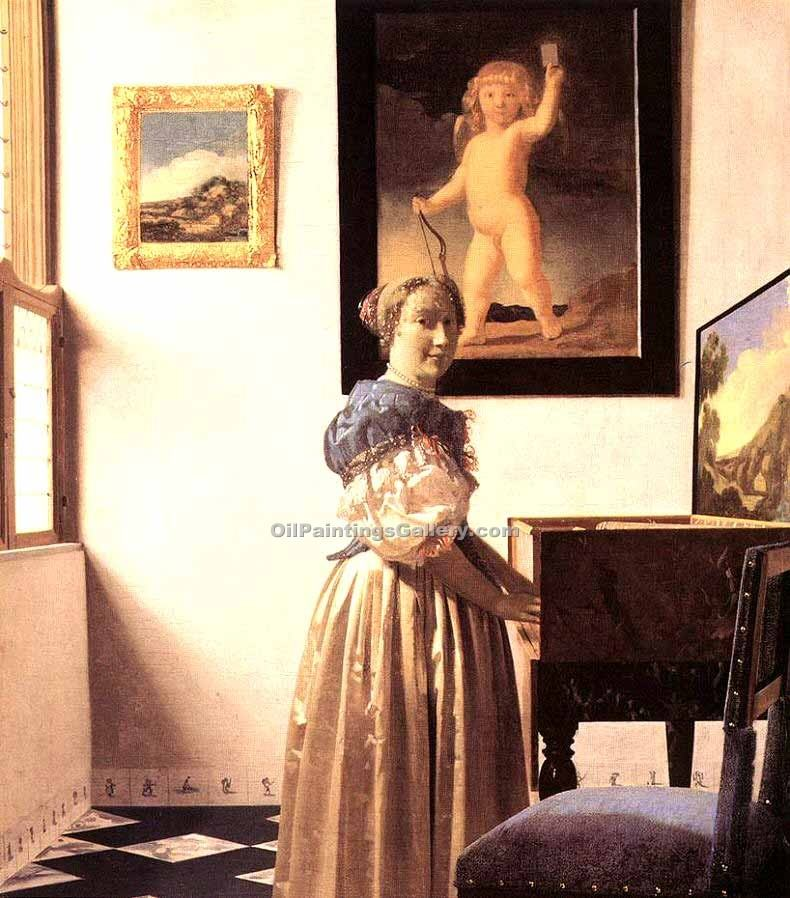 Lady Standing at a Virginal by Vermeer Jan | Famous Artists Paintings - Oil Paintings Gallery
