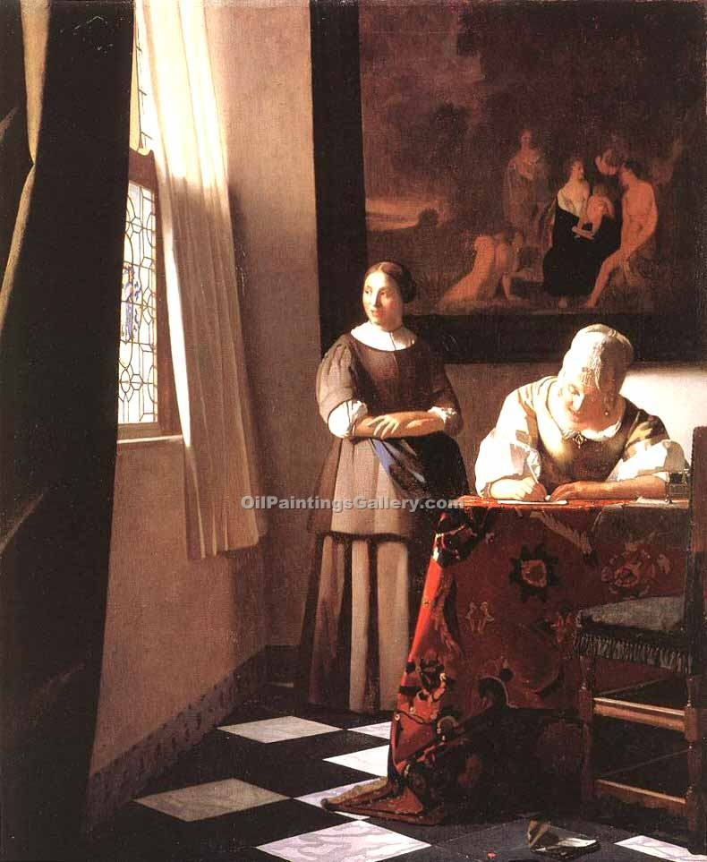 """Lady Writing a Letter with Her Maid"" by  Jan Vermeer"
