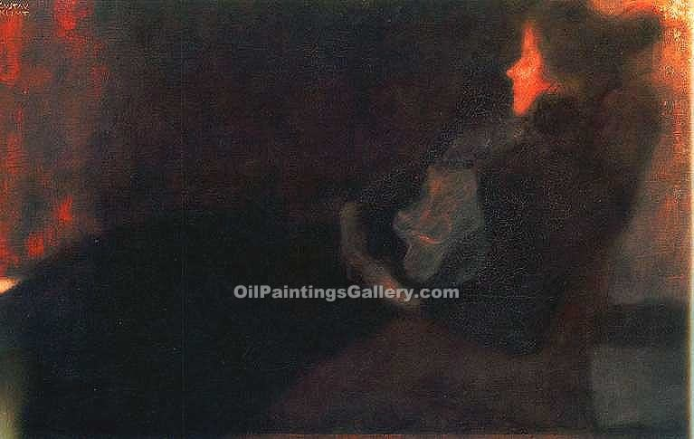 """Lady by the Fireplace"" by  Gustav Klimt"