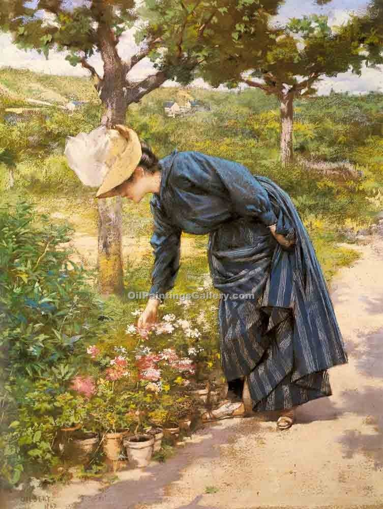 """Lady in a Garden 41"" by  Victor Gabriel Gilbert"