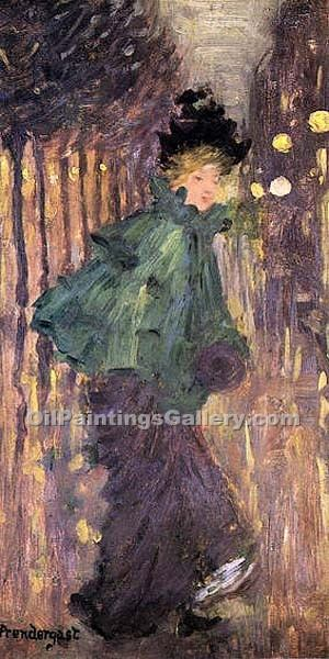 """Lady on the Boulevard"" by  Maurice Brazil Prendergast"