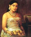 Lady with Fruits by  Raja Ravi Varma (Painting ID: GE-1221-KA)
