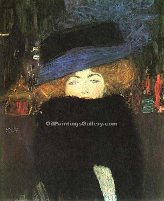 Lady with Hat and Featherboa by GustavKlimt | American Paintings - Oil Paintings Gallery