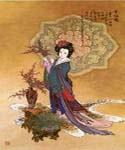 Lady with Plum Flowers  (Painting ID: EI-0992-KA)