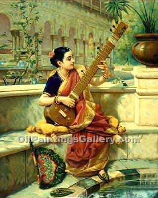 """Lady with Sitar"" by  Raja Ravi Varma"