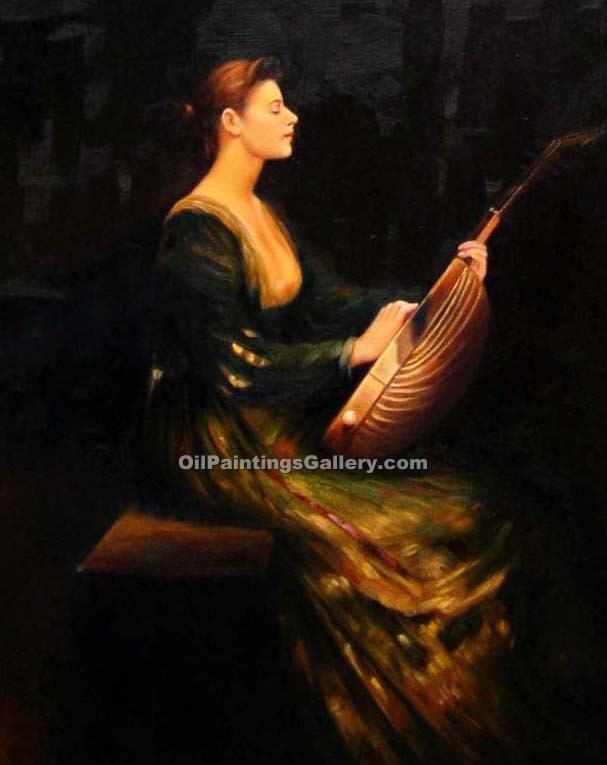 Lady with a Lute by Dewing Thomas Wilmer | Best Online Art Gallery - Oil Paintings Gallery