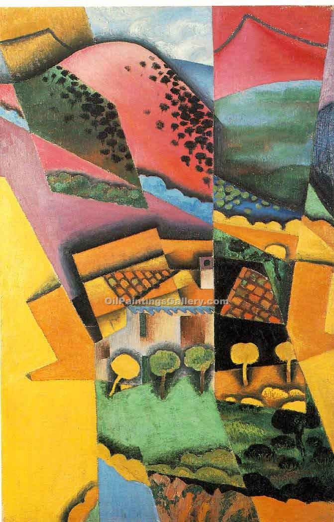 Landscape at Ceret by Juan Gris | Abstract Oil Paintings - Oil Paintings Gallery