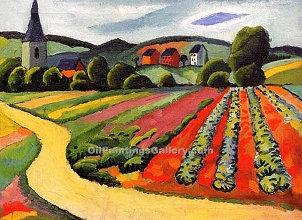 """Landscape at the Tegersee"" by  August Macke"