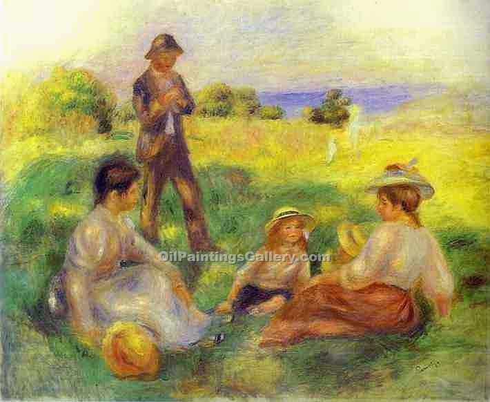 Landscape in Berneval with People by Pierre Auguste Renoir | Paintings For Sale Online - Oil Paintings Gallery