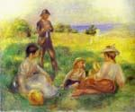 Landscape in Berneval with People by  Pierre Auguste Renoir (Painting ID: CL-4555-KA)