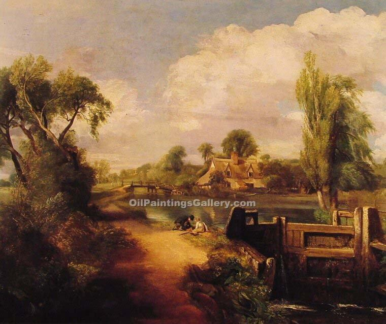 """Landscape with Boys Fishing"" by  John Constable"