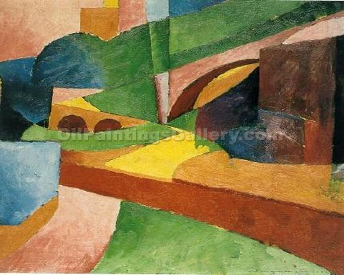 """Landscape with Bridge 20"" by  Morton Livingston Schamberg"