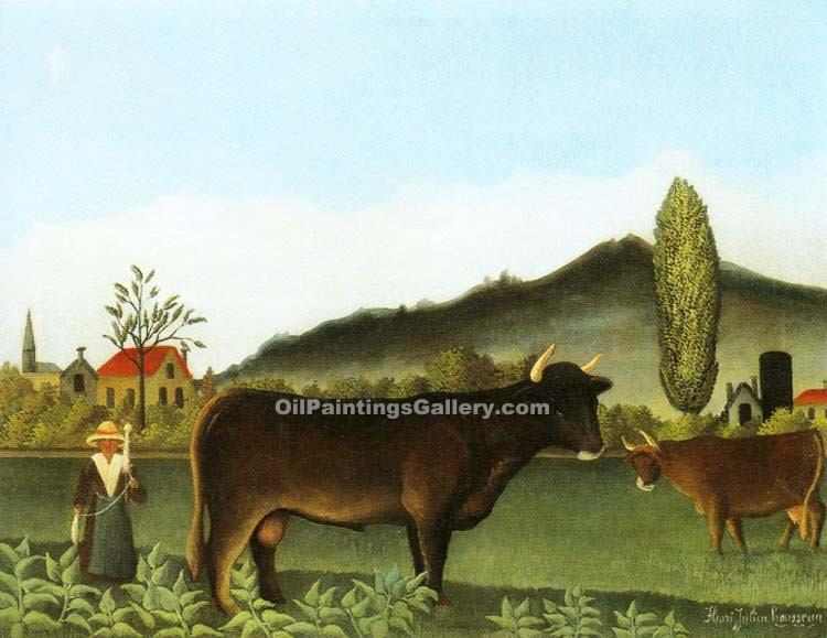 """Landscape with Cattle 56"" by  Henri Rousseau"