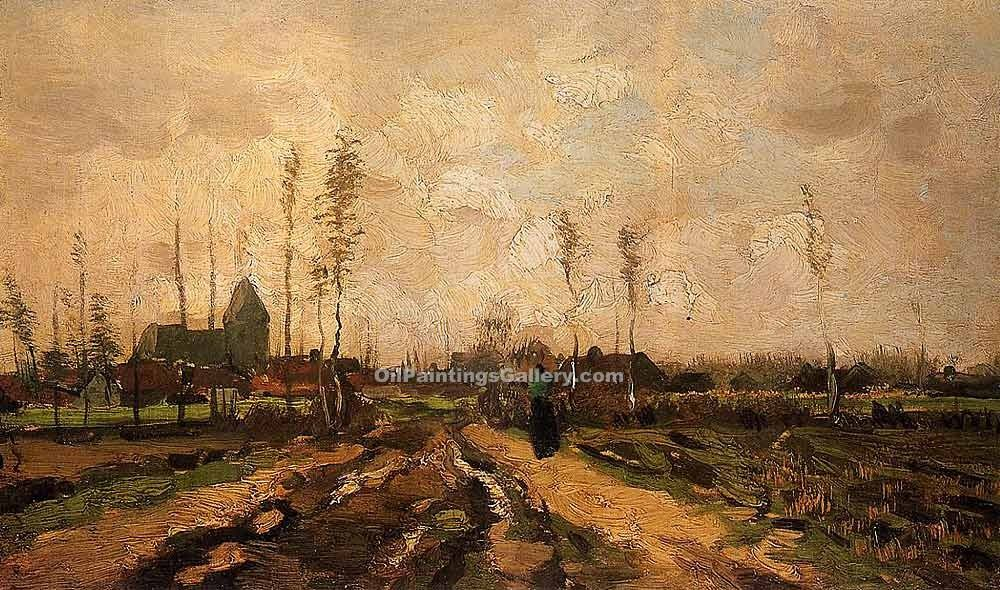 """Landscape with Church and Farms"" by  Vincent Van Gogh"