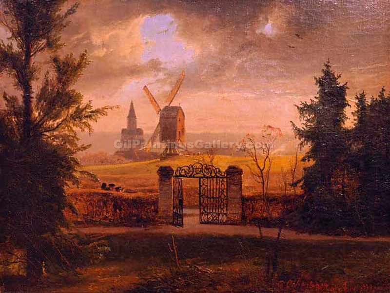 """Landscape with Church by Black Grove Village"" by  Andreas Achenbach"