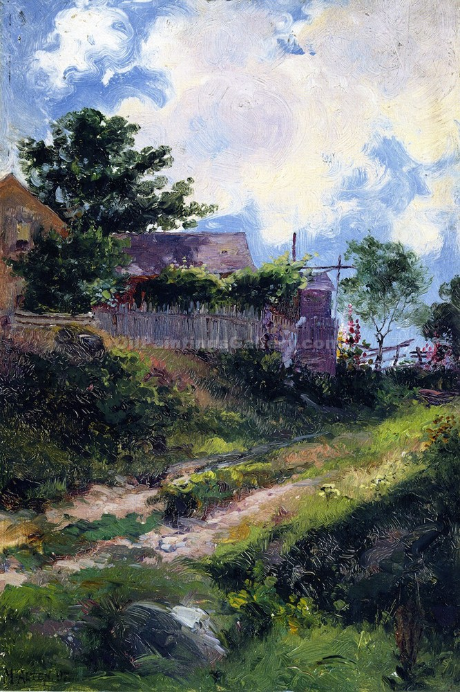 Landscape with House and Fence by Mathias J. Alten | Impressionist Paintings - Oil Paintings Gallery