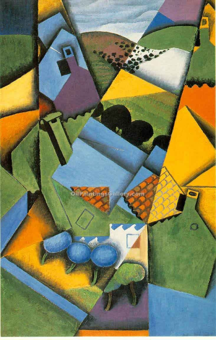 """Landscape with Houses at Ceret"" by  Juan Gris"