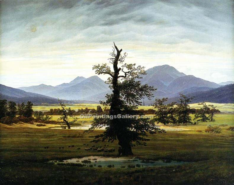"""Landscape with Solitary Tree"" by  Caspar David Friedrich"