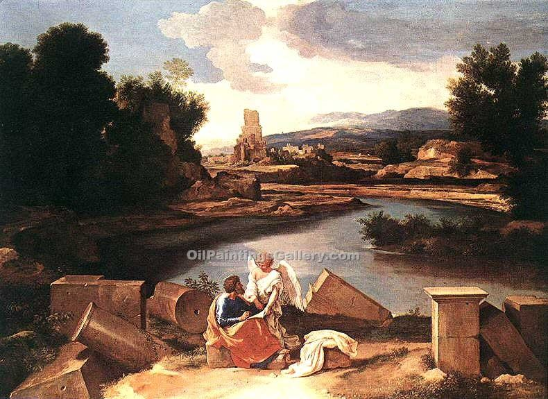 Landscape with St Matthew and the Angel by Poussin Nicolas | Art Shop Online - Oil Paintings Gallery