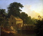 Landscape with Waterwheel and Boy Fishing by  George Caleb Bingham (Painting ID: LA-2359-KA)