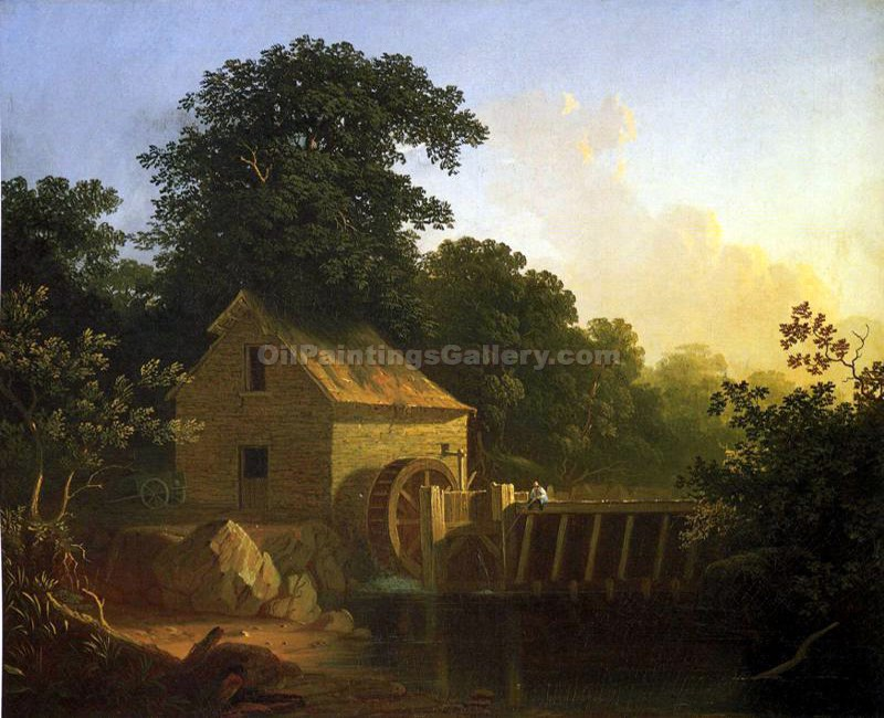 """Landscape with Waterwheel and Boy Fishing"" by  George Caleb Bingham"