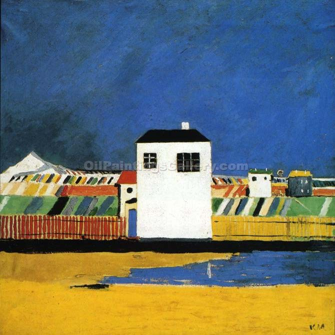 Landscape with White House by Kasimir Malevich | Oil Art Gallery - Oil Paintings Gallery