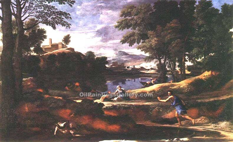 """Landscape with a Man Killed by a Snake"" by  Nicolas Poussin"