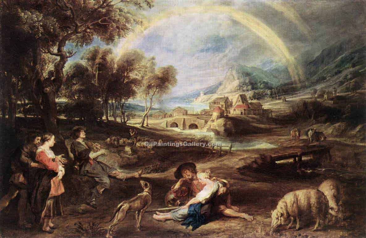 Landscape with a Rainbow by Rubens Peter Paul | Paintings Online - Oil Paintings Gallery