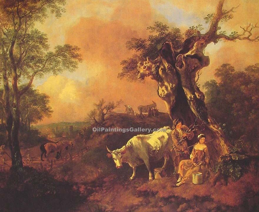 """Landscape with a Woodcutter and Milkmaid"" by  Thomas Gainsborough"