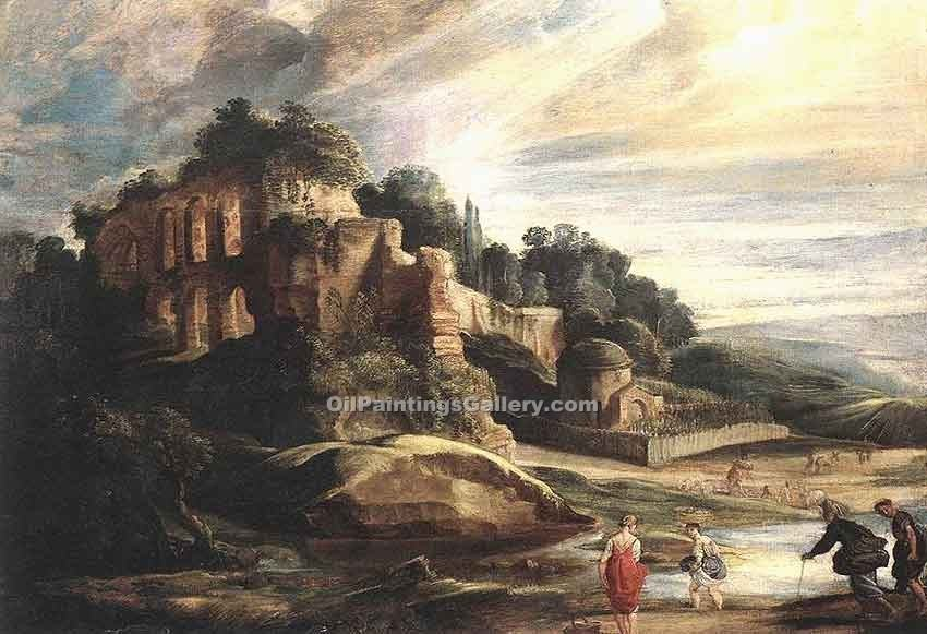 """Landscape with the Ruins of Mount Palatine in Rome"" by  Peter Paul Rubens"