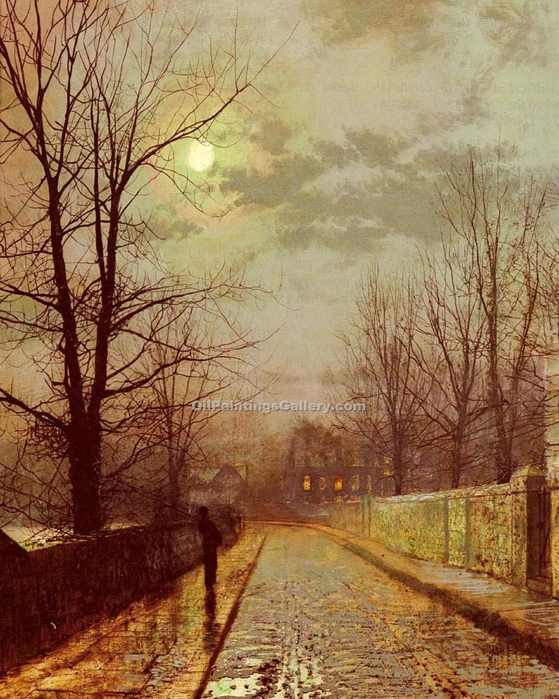 """Lane In Cheshire"" by  John Atkinson Grimshaw"