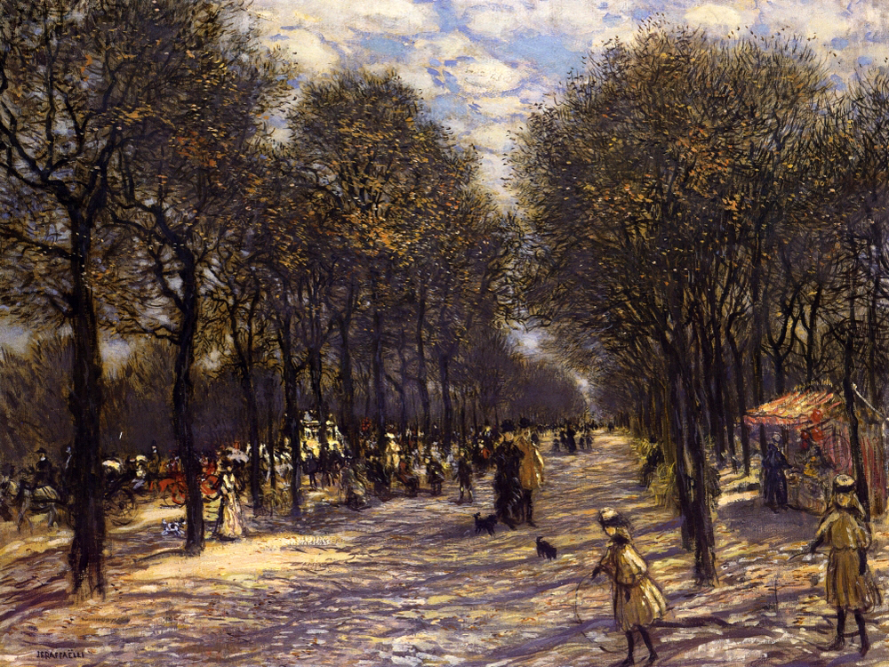 """Lane of Trees on the Champs-Elysees"" by  Jean Francois Raffaelli"