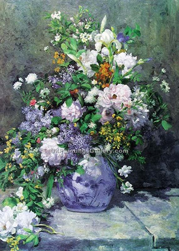 large vase of flowers by pierre auguste renoir painting