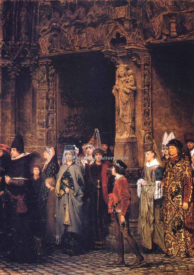 """Leaving Church in the Fifteenth Century"" by  Sir Lawrence Alma Tadema"