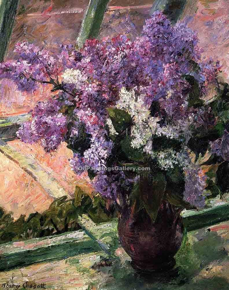 """Lilacs in a Window"" by  Mary Cassatt"