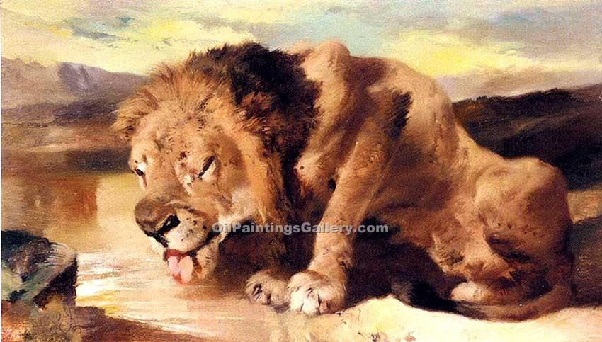 """Lion Drinking at a Stream"" by  Sir Edwin Henry Landseer"