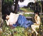 Listening to His Sweet Pipings by  John William Waterhouse (Painting ID: CL-4210-KA)