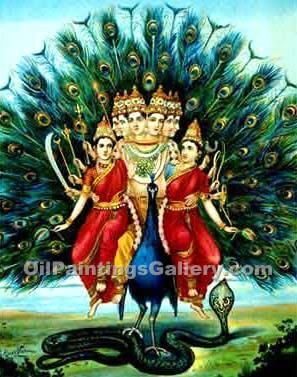 Lord Muruga by Raja Ravi Varma | Oil Paintings On Canvas - Oil Paintings Gallery