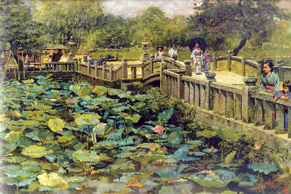 """Lotus Pond, Shiba, Tokyo"" by  Theodore Wores"