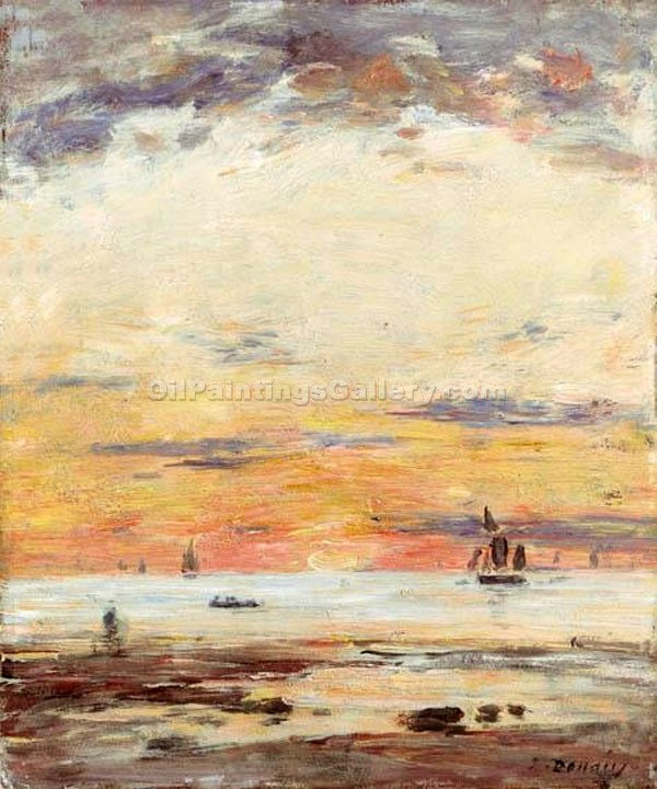 """Low Tide at Sunset"" by  Eugene Louis Boudin"