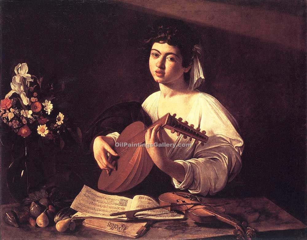 Lute Player by Caravaggio | Portraits Painting On Canvas - Oil Paintings Gallery