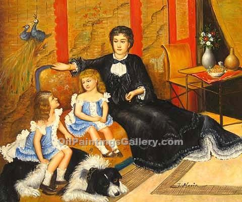 Madame Charpentier with her Daughters by Pierre Auguste Renoir | Fine Art Paintings Sale - Oil Paintings Gallery