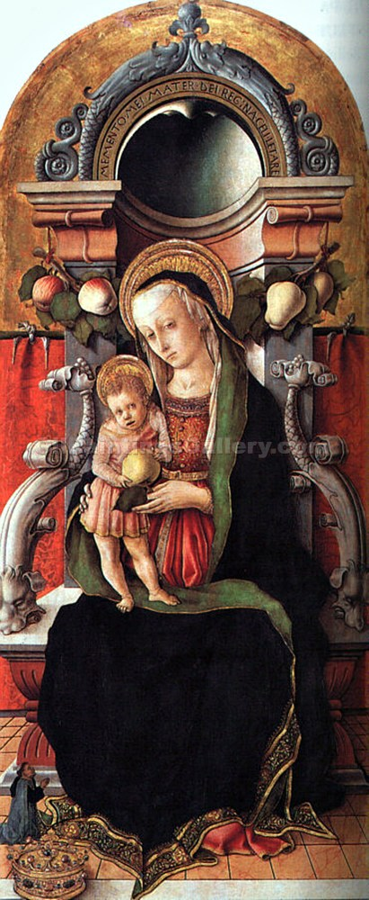 Madonna and Child Enthroned with a Donor by CarloCrivelli | Oil Paintings On Canvas - Oil Paintings Gallery