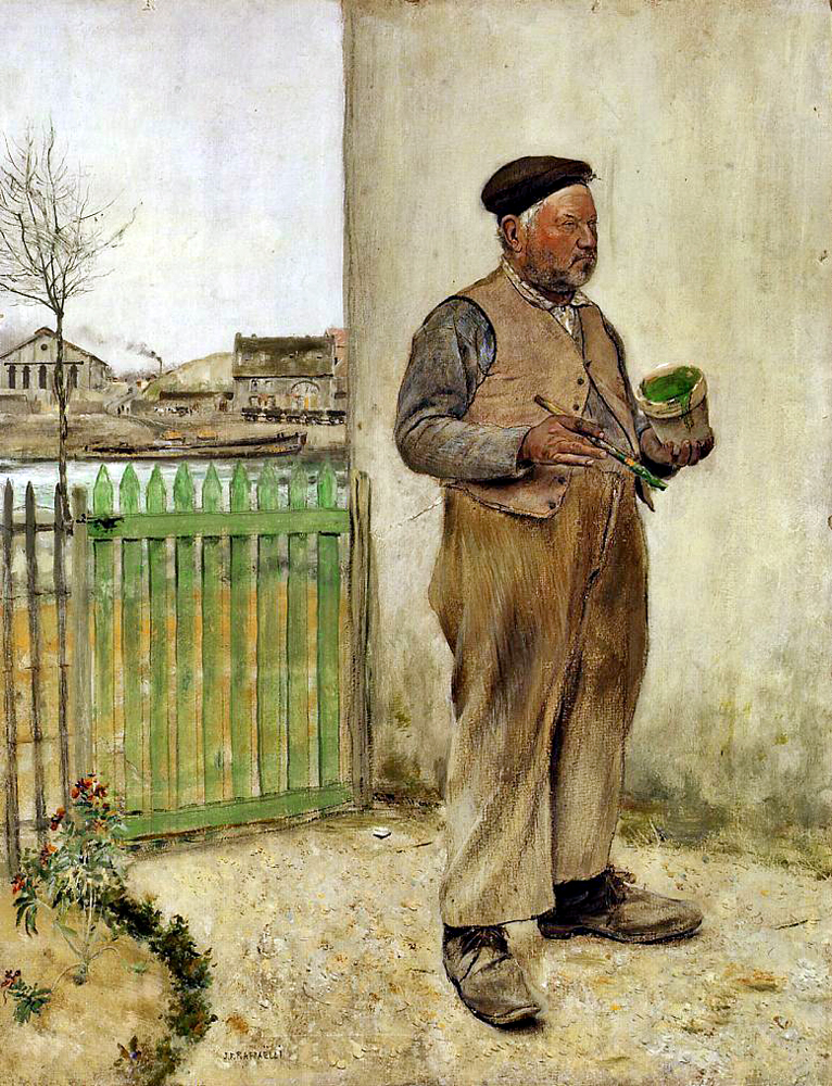 """Man Having Just Painted His Fence"" by  Jean Francois Raffaelli"
