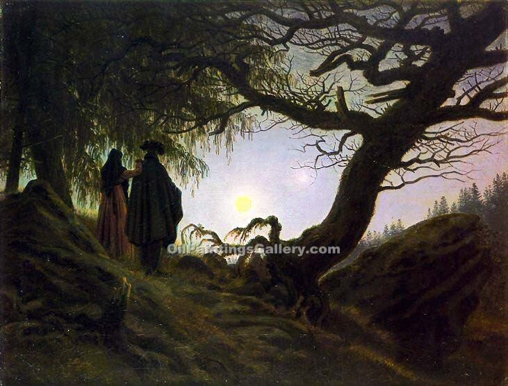 """Man and Woman Contemplating the Moon"" by  Caspar David Friedrich"