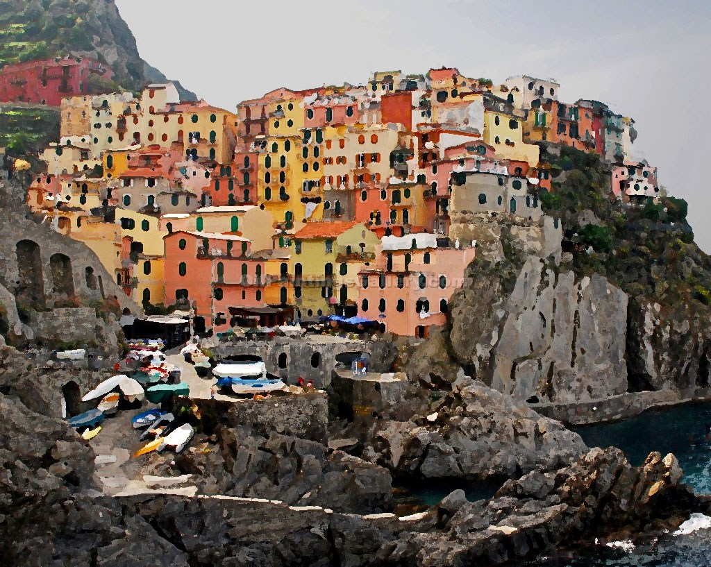 Buy Maritime Artist Oil Painting Online - Realism Paintings - Manarola, Italy